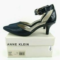 Anne Klein I-Flex Women's Size 6m Fabulist Navy Syn Point Toe Ankle Strap Pumps Photo