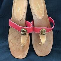 Anne Klein Iflex Low Wedge Thong Toe Sandals Sz 8m New Photo