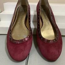 Anne Klein Iflex Maroon Slip on Ballet Style Shoes Sz 6.5 Suede Leather Photo