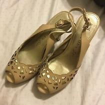 Anne Klein Iflex Open Toe Taupe Heels Sz 6 1/2m Photo