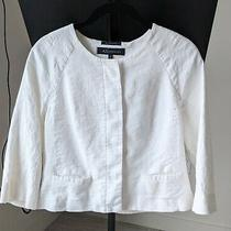 Anne Klein Ivory Faux Pocket Crop Linen Blend Lined Blazer Jacket Size 6p Photo