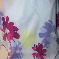 Anne Klein Large Silk Scarf - Lavender & Pink Floral - 34 X 34