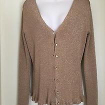 Anne Klein Metalic Gold Ls  Sweater Cardigan Sweater Top Rhinestones Med Euc Photo