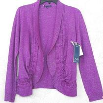 Anne Klein Nwt Sz L Large Pinky Purple Knit Cardigan Sweater Top Silver Metalic  Photo