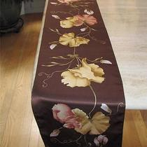 Anne Klein Oblong Brown Scarf Floral in Beige Tan and Muted Pink Likely Silk Photo