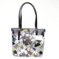 Anne Klein Perfect Tote Small Floral Shopper Handbag Black Purple Photo