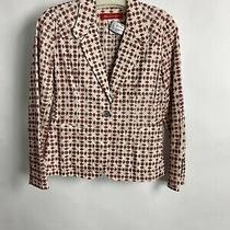 Anne Klein Red Embroided Cream Blazer Size 4 Photo