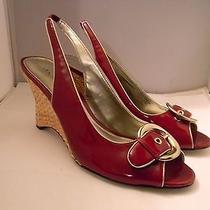 Anne Klein Red Patent Leather Slingback Pumps 9.5m /3.75