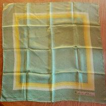 Anne Klein Scarf Green Yellow Geometric Print 21 Square Photo