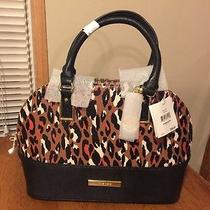 Anne Klein Shimmer Down Hazel Multi Leopard Satchel Hand Bag Purse Photo