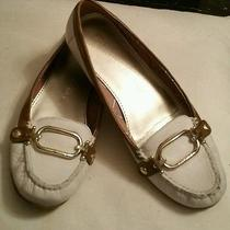 Anne Klein Shoes White and Tan Leather Flats Size 7 1/2 M Photo