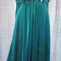 Anne Klein Silk Sequin Dress Aqua Teal Blue Size 12 Photo