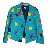 Anne Klein Size 10 Heart Open Front Lined Jacket Blazer Bright Blue Multi-Color  Photo