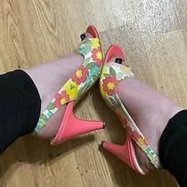 Anne Klein Size 8 1/2 Womens Floral Peep Toe Sling Back Pumps Photo