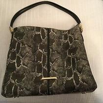 Anne Klein Snake Python Gray Black Hobo Shoulder Bag Handbag Purse Tote Photo