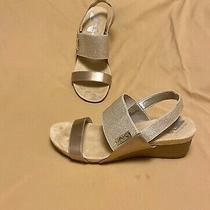 Anne Klein Sport Gold Sarota Soft Sole Wedge Sandal Size 10m  Photo