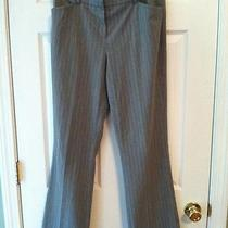 Anne Klein Stretch Sz 6 Gray Pinstripe Skacks / Pants Lk Nu  Gr2-B2 Photo