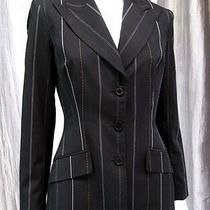 Anne Klein Suit Long Sleeve Three Button Blazer Size 6 Black Striped 090   Photo