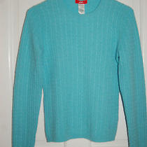Anne Klein Sweater 100% Cashmere Gorgeous Aqua Blue Cable Knit S Photo