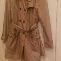 Anne Klein Trench Coat Jacket Belted Three Quarters Women Extra Large Khaki Tan Photo