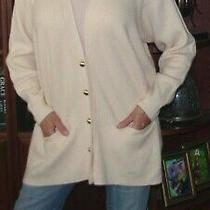 Anne Klein True Blush Pink 100% Thick Cashmere v-Neck Cardigan Sweater L/xl Long Photo
