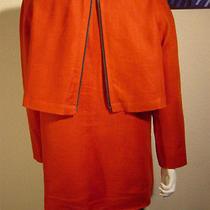 Anne Klein Vintage Burnt Orange Linen W/black Zipper Detail Jacket Size 12 Photo