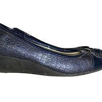 Anne Klein Women Heel Shoe Saisha Size 7m Wedge Blue Photo