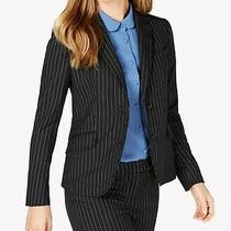 Anne Klein Women's Blazer Black Size 14 Pinstripe Two Button Jacket 149 885 Photo