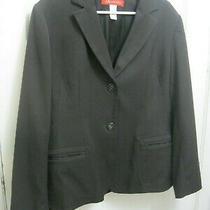 Anne Klein Women's Blazer Jacket Size 14 Stretch Dark Brown Photo