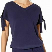 Anne Klein Women's Blouse Navy Blue Size Xs v Neck Tie Cuff Stretch 99 413 Photo