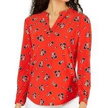 Anne Klein Women's Blouse Red Size Large L Split Neck Floral Jersey 69 521 Photo