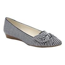 Anne Klein Womens Breezy Navy Stripe Ruched Bow 3/4 Heel Slip on Shoes 10m Photo