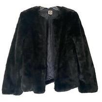 Anne Klein Womens Faux Fur Black Coat Size Medium Photo