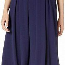 Anne Klein Women's Skirt Navy Blue Size 8 a-Line Pleated Midi Crepe 99 168 Photo