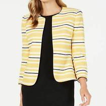 Anne Klein  Women's Striped Jacket Yellow 2 Photo