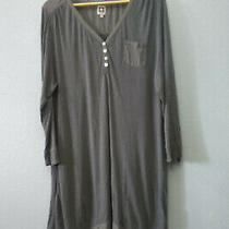 Anne Klein Women's Xl Gray Sheer v-Neck Tunic Dress Boho Bohemian  Photo