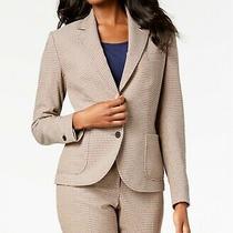 Anne Klein Womens Beige Plaid Two Button Blazer Jacket Size 4 Photo