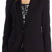 Anne Klein Womens Blazer Deep Black Size 4 One-Button Notch-Lapel 119- 403 Photo