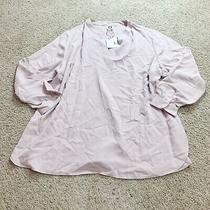 Anne Klein Womens Blouse Ballet Blush Pink Vneck Popover Plus Size 2x Nwt New Photo