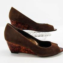 Anne Klein Womens Brown Suede Marbled Look Wedge Heel Peep Toe Pumps Shoe 7m C5 Photo