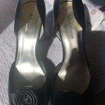 Anne Klein Womens Classic Pump Black Kitten Heels Pointed Toe Leather Shoes 10 Photo