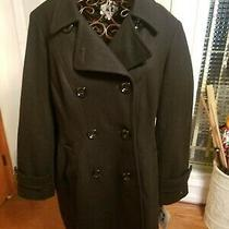Anne Klein Womens Coat Black Size Xl Double Breasted Notched Lapel 260 60% Wool Photo
