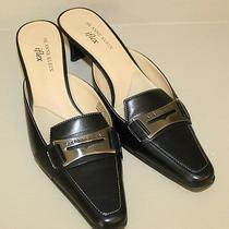 Anne Klein Womens Iflex Horsebit Slip on Mules Heel Shoes Sz 7.5 M Black Leather Photo