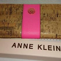 Anne Klein Womens Slim Z/a Zip Wallet Clutch Natural Cork Pink Leather Gold Box Photo