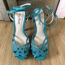 Anne Michelle Green Heels Double Strap Crystal Rhinestone Asos Zara Aldo Madden Photo