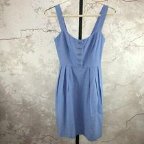 Annie Griffin Blue Cotton Sleeveless Button Front Size 0 Sun Dress W/pockets Photo