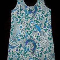Annie Griffin Chandler M Med Peacock Print Dress Woman 100% Silk Bird Turquoise Photo