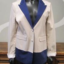 Annie Griffin Large Ivory White Blue W/ Shoulder Pads Blazer Jacket Photo