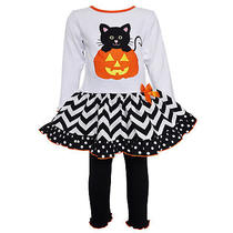 Annloren Big Girls Boutique Sz 9/10 Halloween Kitten in Pumpkin Dress Clothing Photo