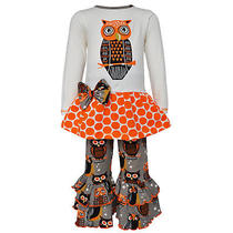 Annloren Girls 9/10 Boutique Autumn Owl Shirt and Pants Halloween Clothing Set Photo